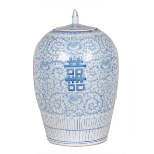 Blue and white lidded jar from the Kellogg Collection | @kelloggfurn