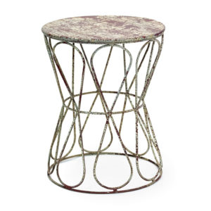 Painted cream crackle metal garden seat from the Kellogg Collection | @kelloggfurn