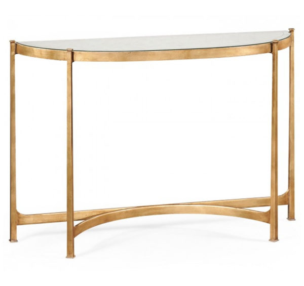 Eglomise and gilt iron demilune console from the Kellogg Collection | @kelloggfurn