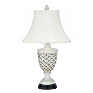 White trellis table lamp by the Kellogg Collection | @kelloggfurn