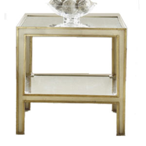 Mirrored two-tier painted end table from the Kellogg Collection | @kelloggfurn