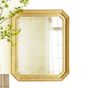 Rippled antique gold cut corner mirror from the Kellogg Collection | @kelloggfurn