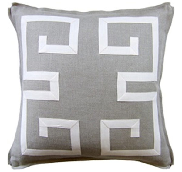 Greek fretwork pillow from the Kellogg Collection | @kelloggfurn