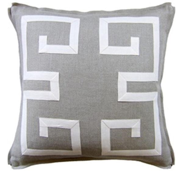 Greek fretwork pillow from the Kellogg Collection | @kelloggfurn