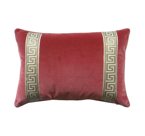 Coral velvet and Greek key pillow from the Kellogg Collection | @kelloggfurn