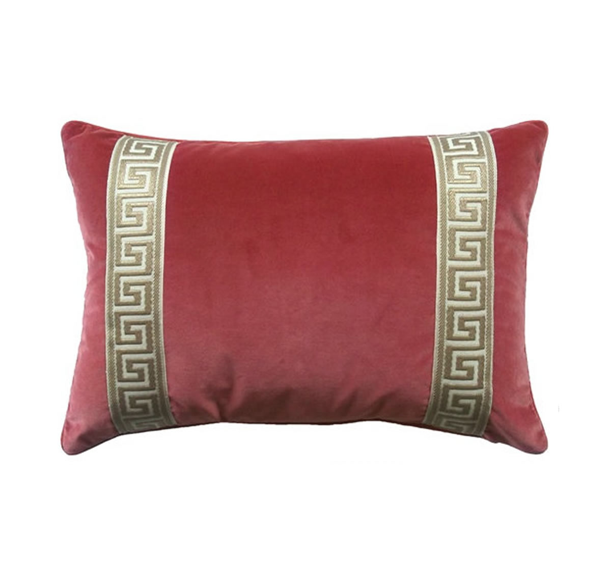 Coral Velvet With Greek Key Pillow The Kellogg Collection