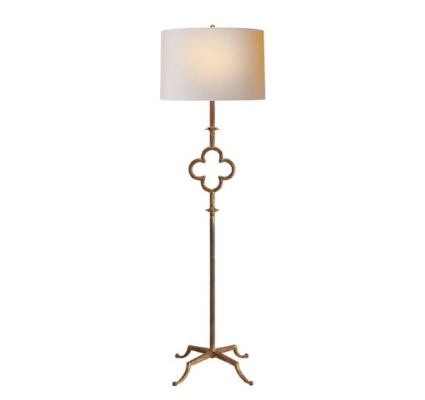 Aged gold quatrefoil floor lamp from the Kellogg Collection   @kelloggfurn
