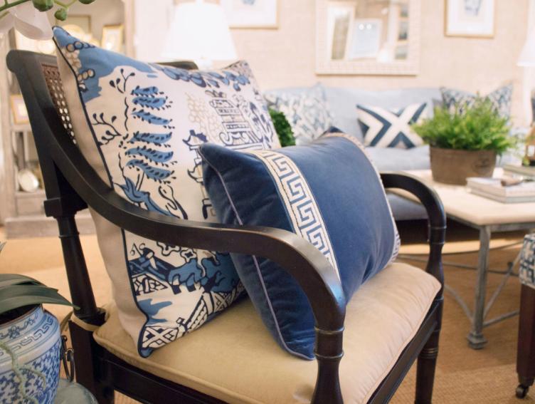 coral velvet with greek key pillow