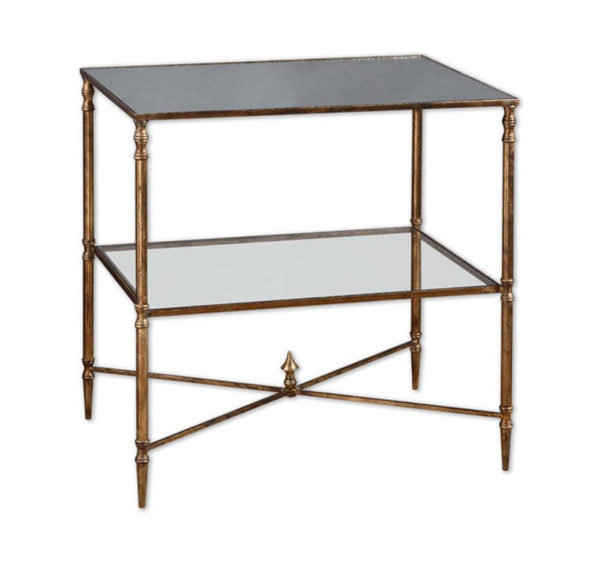 Antique gold two-tier end table from the Kellogg Collection | @kelloggfurn