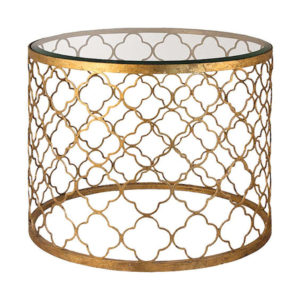 Gold Quatrefoil end table from The Kellogg Collection | @kelloggfurn