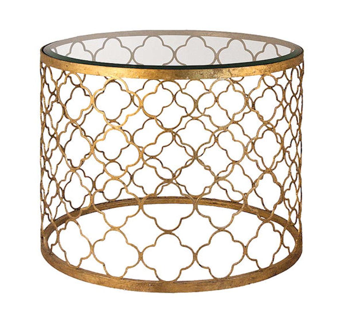 Gold Quatrefoil End Table