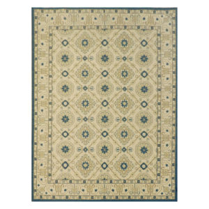 Blue and ivory Soumak weave rug | @kelloggfurn
