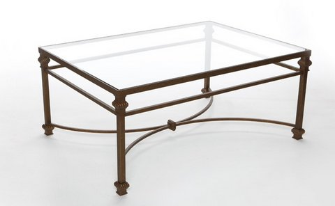 "SAL18CC-HG - GLASS AND IRON COFFEE TABLE - 42""W X 30""D X 18""H"