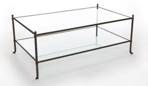 "SALJCCT - TWO TIERED GLASS AND IRON COCKTAIL TABLE - 48""W X 28""D X 18""H"