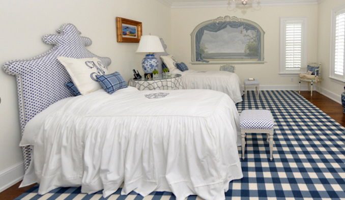Spunky polka dots on twin headboards in a children's room – white and/or blue bedding will always match well. Look by our interior designer Polly McKenna.