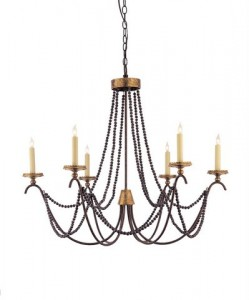 The Marigot chandelier in old brass with brown bead trim
