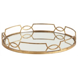 The cinchwaist round tray with gold accents