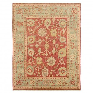 Coral oushak rug