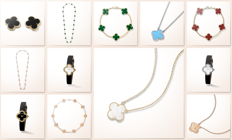 Van Cleef and Arpels quatrefoil pieces. Screenshot via vancleefarpels.com.
