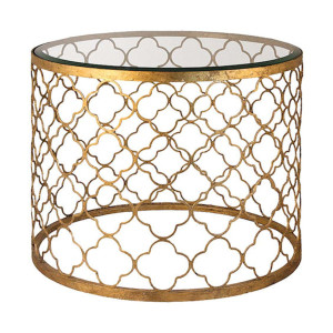 Gold Quatrefoil End Table