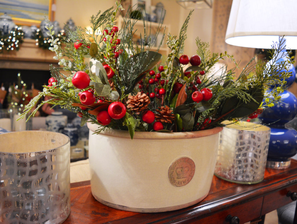 Fill your Kew Pottery pots with sprigs of faux holly botanicals! $12 each; about 15 sprigs shown.
