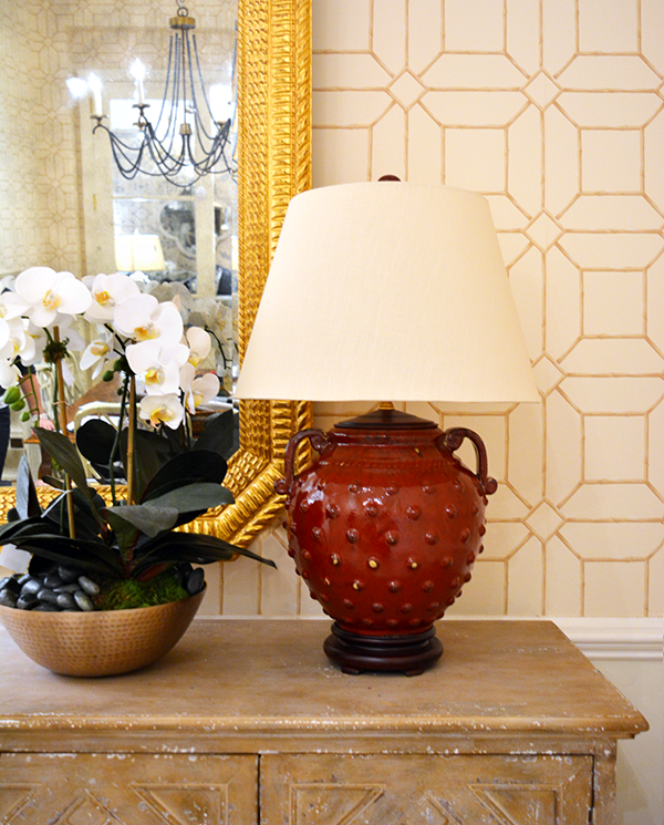 Red ceramic hobnail vase with wood base and Italian parchment shade. Was $395, now $316 during sale.