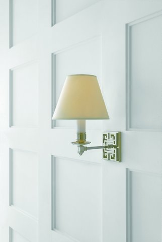 Single arm sconce in polished nickel with natural paper shade. Was $375, now only $300 during sale.