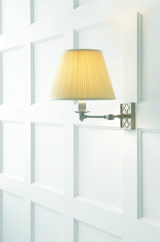 Swing arm wall lamp in polished nickel with silk shade. Was $475, now only $380 during sale.