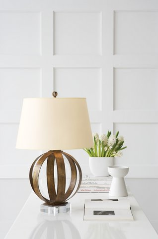 Metal banded lamp in gilded iron with natural paper shade. Was $475, now only $380 during sale.