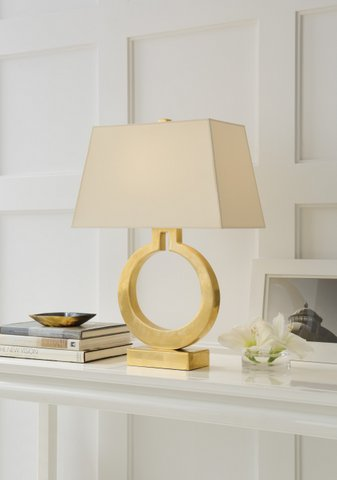 Ring table lamp in antique-burnished brass with natural paper shade. Was $700, now only $560 during sale.