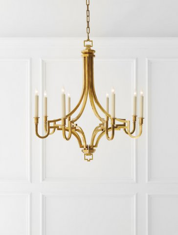 "Traditional style antique burnished brass chandelier.  29"" tall x 27.5"" dia. Was $1375, now only $1,100 during sale."
