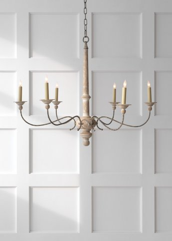 "Large country French wood and metal chandelier in a chalky white finish.  31"" tall x 41"" dia. Was $625, now only $521.60 during sale."