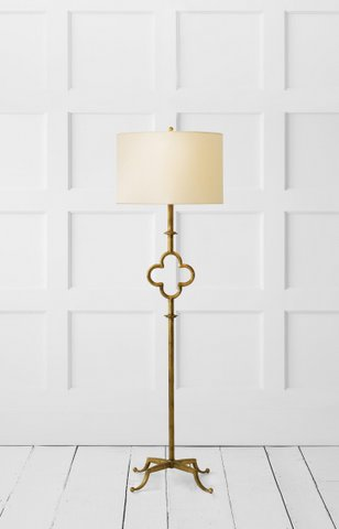 Quatrefoil floor lamp in gilded iron with linen shade. Was $750, now only $600 during sale.