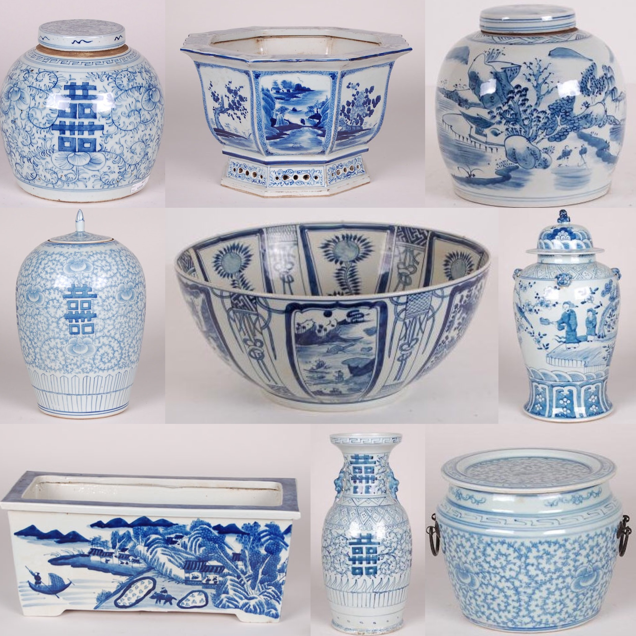 Sample of some of the blue and white pieces available at The Kellogg Collection.