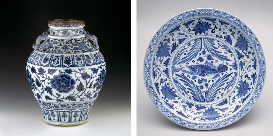 Yuan Dynasty Blue and White Wine Jar, image from British Museum; Plate image from the Met Museum