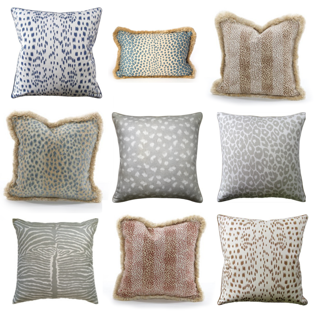 A sample of animal print pillows available at The Kellogg Collection.