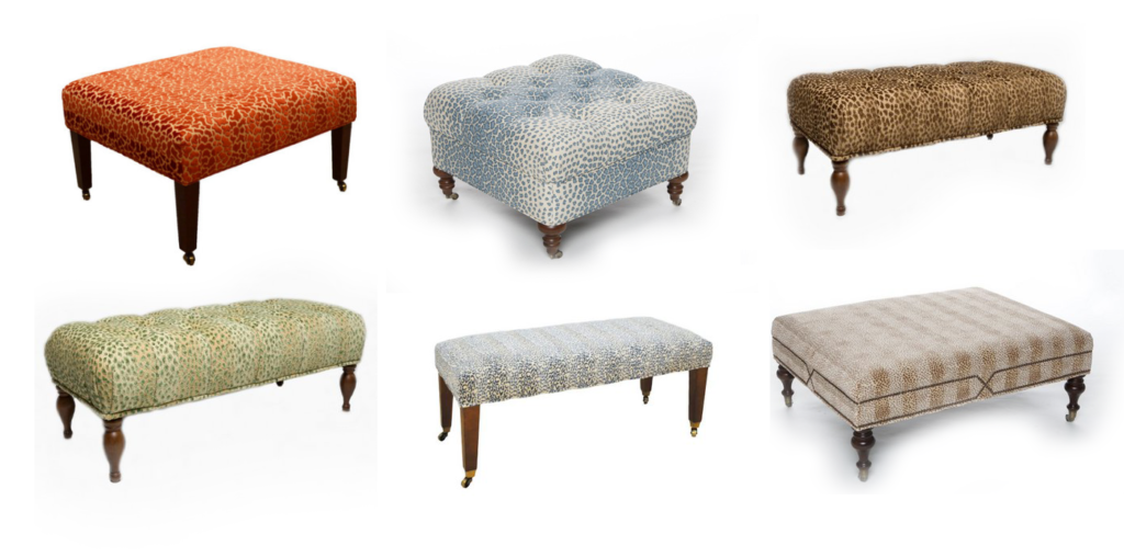 Some of the animal print ottomans available at The Kellogg Collection.